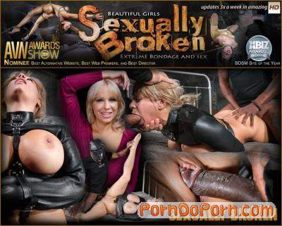 Alyssa Lynn, Matt Williams, Jack Hammer starring in Big breasted Alyssa Lynn takes on two cocks while bound in a leather straightjacket! Busty blonde MILF BBC fucked in a straightjacket! - SexuallyBroken (SD 540p)